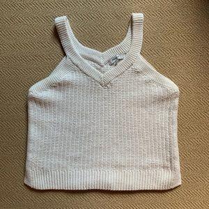 Woven Sleeveless V-Neck Sweater